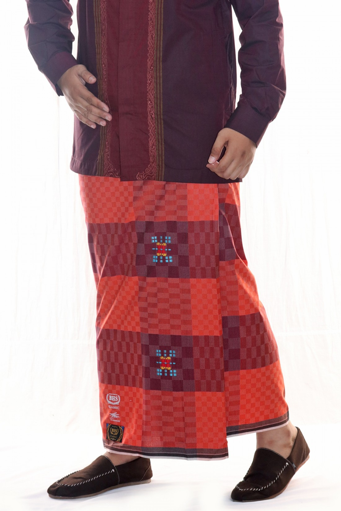 Songket DAM Maroon Orange